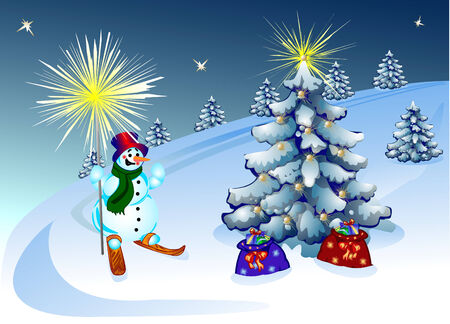 Christmas background with a snowman on skis, trees and bags with gifts. Vector