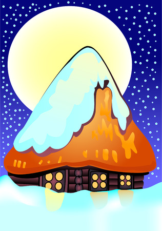 Small house under a snow at night against the moon Stock Vector - 8293085