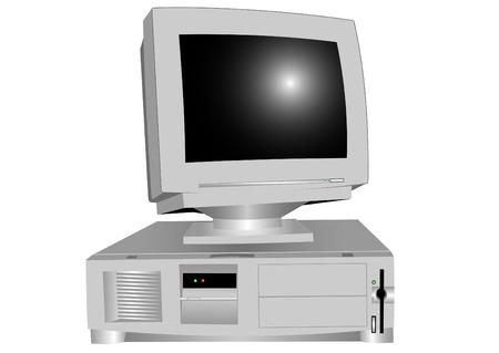 Het systeemblok en de monitor op een witte achtergrond Stock Illustratie