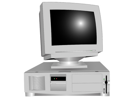 The system block and the monitor on a white background Vector
