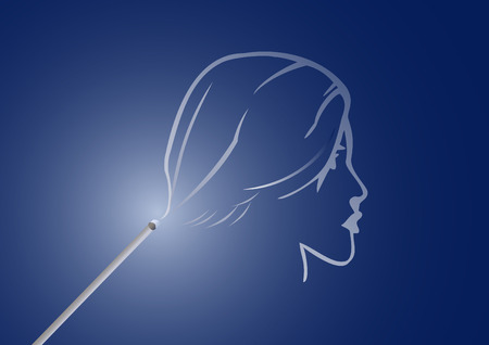incense: Incense stick with a smoke in the form of a silhouette of a head of the girl Illustration