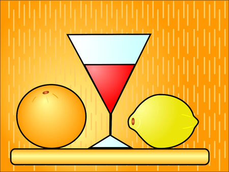 Glass with an orange and a lemon on a support