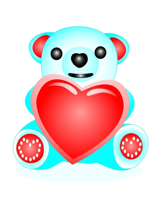 Toy bear of blue colour with heart in paws Stock Vector - 8566193