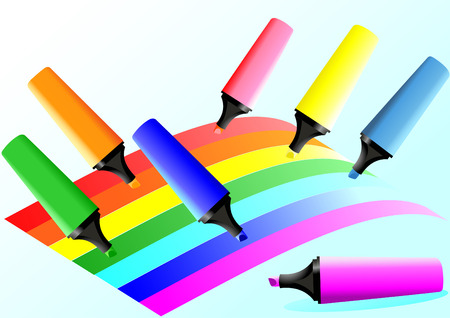 top seven: 7 markers painting 7 colour lines in the form of a rainbow