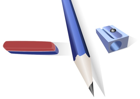 elastic band: Pencil, pencil sharpener and an elastic band with shadow on a white background Illustration