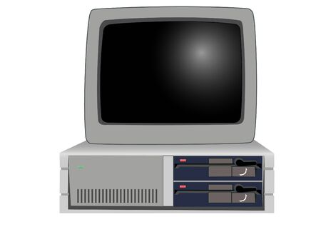 The old personal computer on a white background Vector