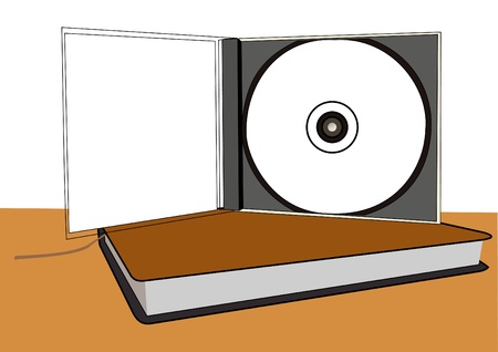 book case: Compact disc illustration in a case on the book