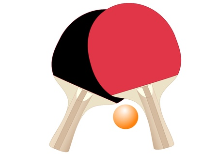 score table: Illustration of rackets and ball for table tennis on a white background Illustration