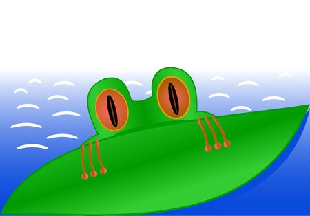 Illustration of the amusing young frog floating on the river and hiding behind a leaf Vector