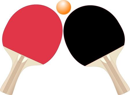 racket sport: Ilustraci�n de raquetas y pelota de tenis de mesa sobre un fondo blanco