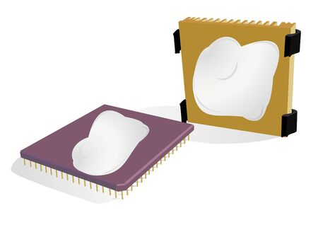 heat sink: Illustration of the processor and radiator with a thermo-paste layer Illustration