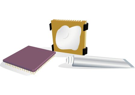 heat sink: Illustration of the processor, radiator and thermo-paste tube