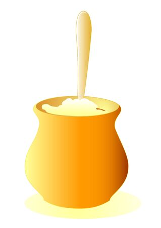 Illustration of a pot of porridge with a spoon Stock Vector - 9233404