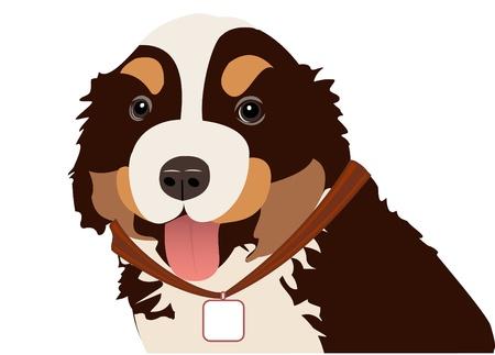 fidelidad: Ilustración de un perro con un medallón de un cuello Vectores