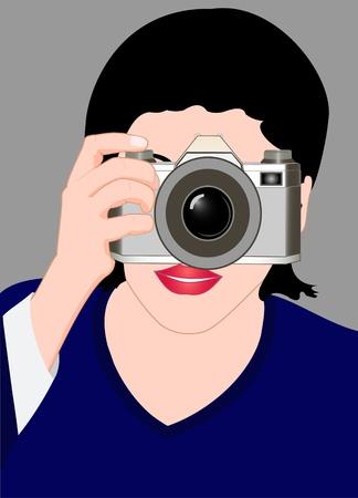 fotografi: Illustrazione della ragazza con una macchina fotografica