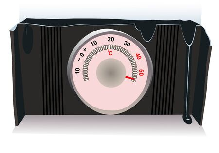 overheat: Illustration of the hot thermometer on a white background Illustration