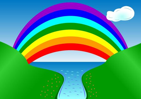 Rainbow illustration over the river running into the sea Illustration