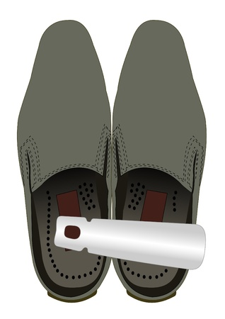Illustration of shoes with a shoehorn on a white background Vector