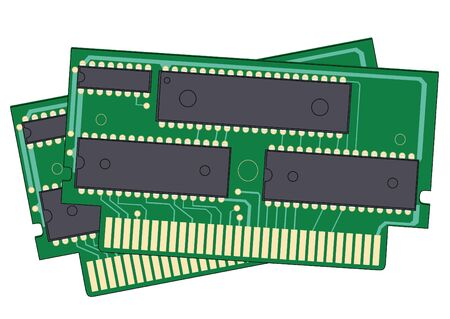 digital memory: Illustration of two digital memory devices on a white background