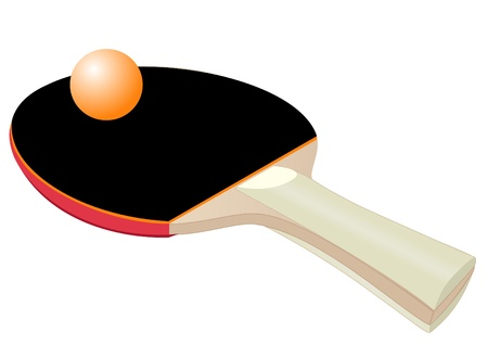 score table: Illustration of a racket for table tennis with a ball
