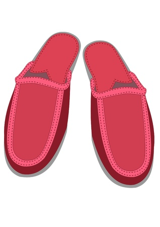 Illustration of pair red female house slippers   イラスト・ベクター素材