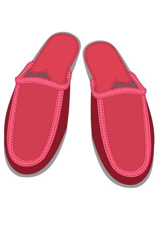 Illustration of pair red female house slippers  Illustration