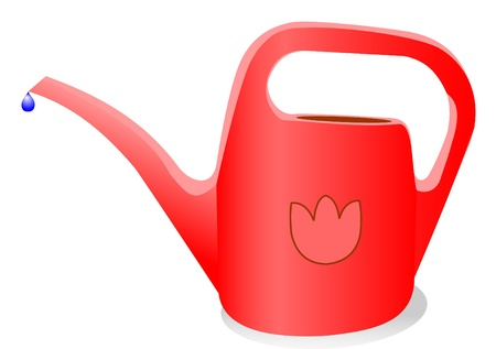 water can: Illustration of watering can with a water drop