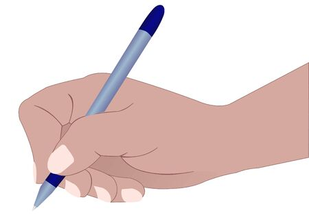 Illustration of a hand with a ball pen, signing the document Vector