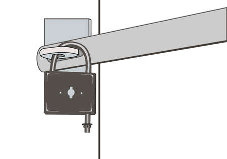 single entry: Illustration of the closed padlock and door barrier Illustration