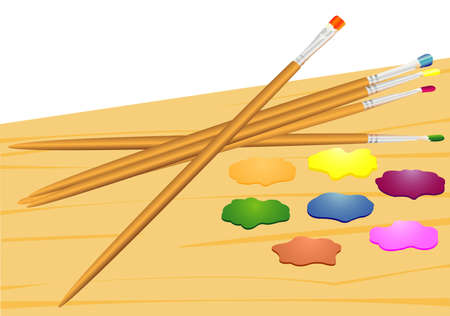 Illustration of a set of brushes and paints of different colour Stock Vector - 9914004
