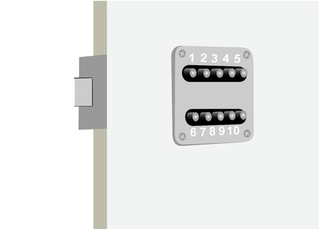 autoriser: Illustration of a door and the coded lock With the digital panel Illustration