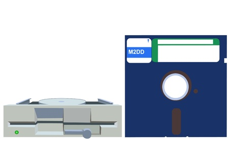 Illustration of old 5.25 inches floppy a drive and floppy disc Vector