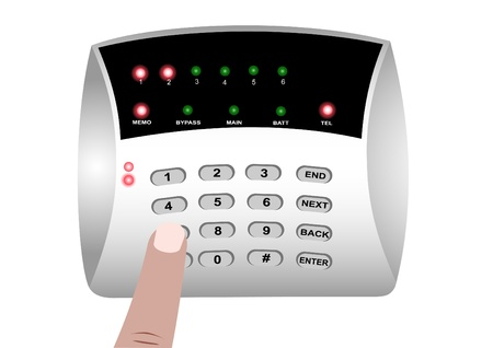 Illustration of the panel of the coded lock and the finger pressing the button Stock Vector - 9914003