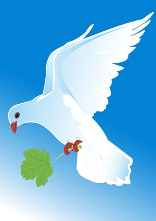 Illustration of a flying pigeon with a green leaf Vector