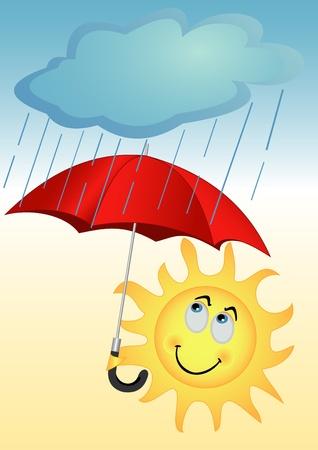 Illustratie van de zon met een rode paraplu onder een regen Vector Illustratie