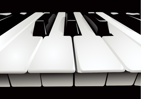 Illustration of the keyboard of a musical instrument on a black background Vector