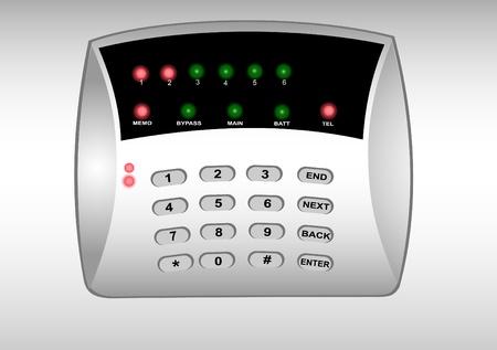 Illustratie van het panel van de gecodeerde slot