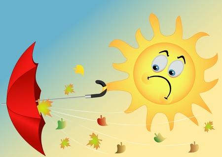 sun protection: Ilustraci�n del Sol divertido con un paraguas y hojas volando