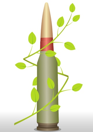munition: Illustration of a cartridge with a green branch with leaves Illustration