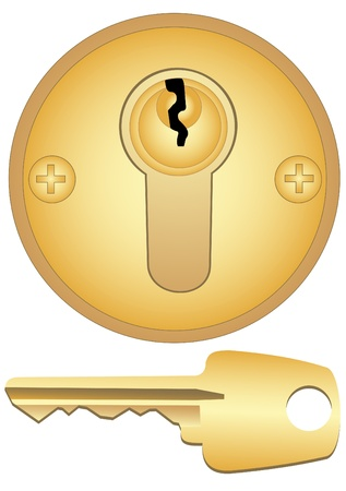 Illustration of a gold keyhole and key on a white background Illustration