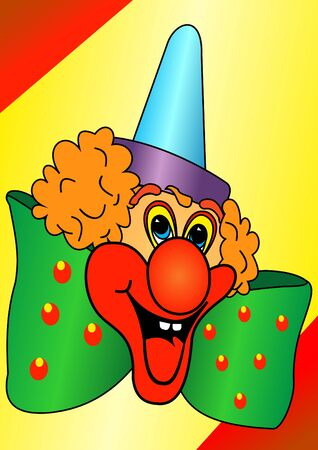 Illustration of the funny clown with a green bow