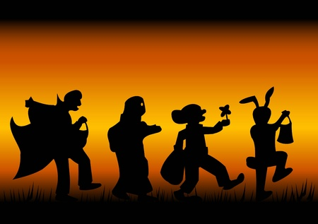 Silhouettes of characters of a halloween on a black-fiery background Vector