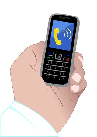 flip phone: Illustration of a hand and calling mobile phone