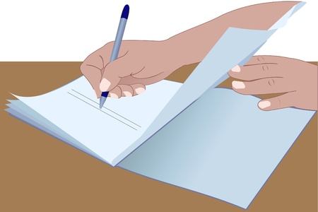 signing document: Illustration of the hands signing the document