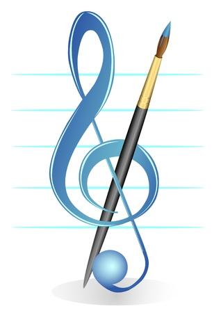 Illustratie van een G-sleutel en een borstel tegen vijf lijnen