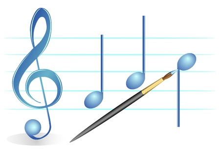 Illustration of a brush, treble clef and notes on a white background