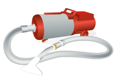 Illustration of an old vacuum cleaner on a white background