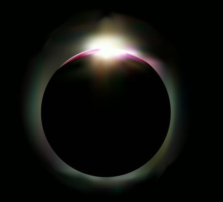 Illustratie van een zonsverduistering in de nachtelijke hemel