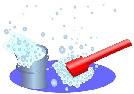 Bucket and brush with a soapsuds and bubbles Stock Vector - 10712856