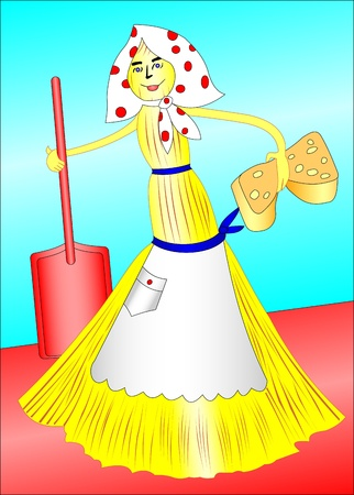 Illustration of an amusing broom with a sponge and a scoop Vector